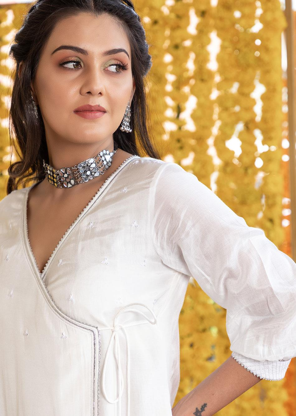 Silk Angrakha Kurta and Straight Pants(set of 3) By Jovi Fashion