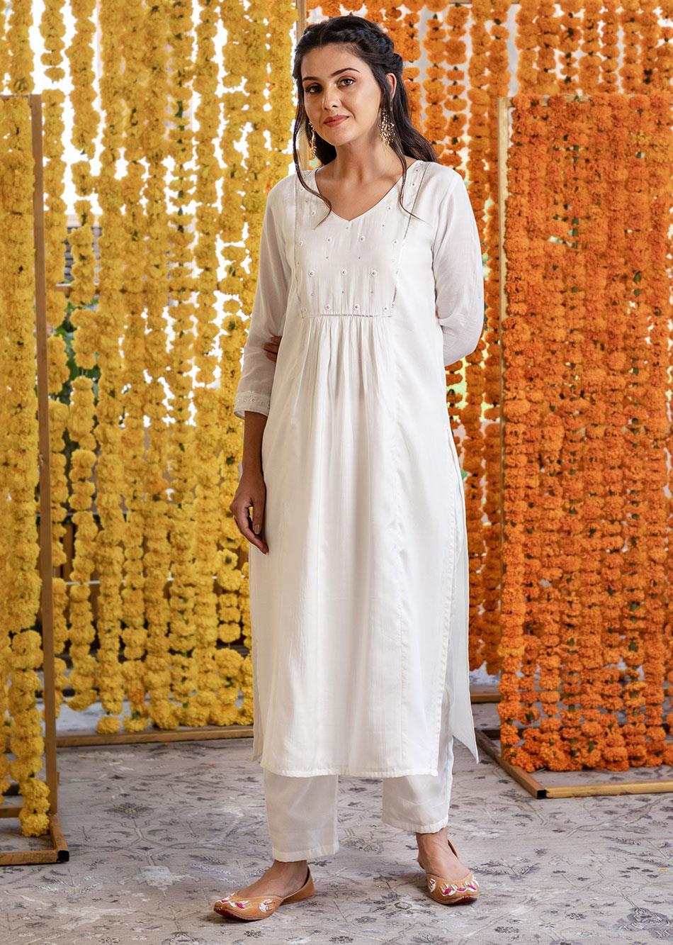 Silk straight kurta and pants (set of 3) By Jovi Fashion