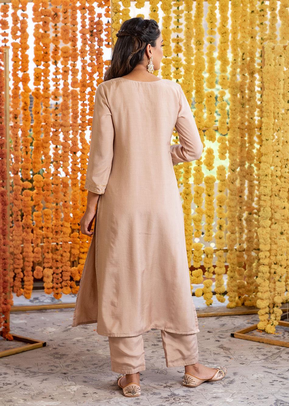Silk straight kurta and pants(set of 3) By Jovi Fashion