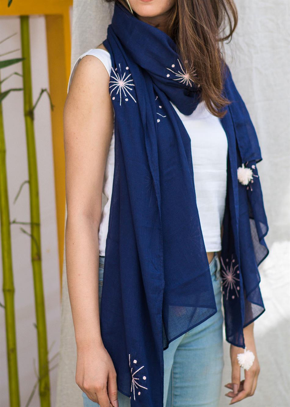 Balletic mood - Navy blue (Hand embroidered scarf)