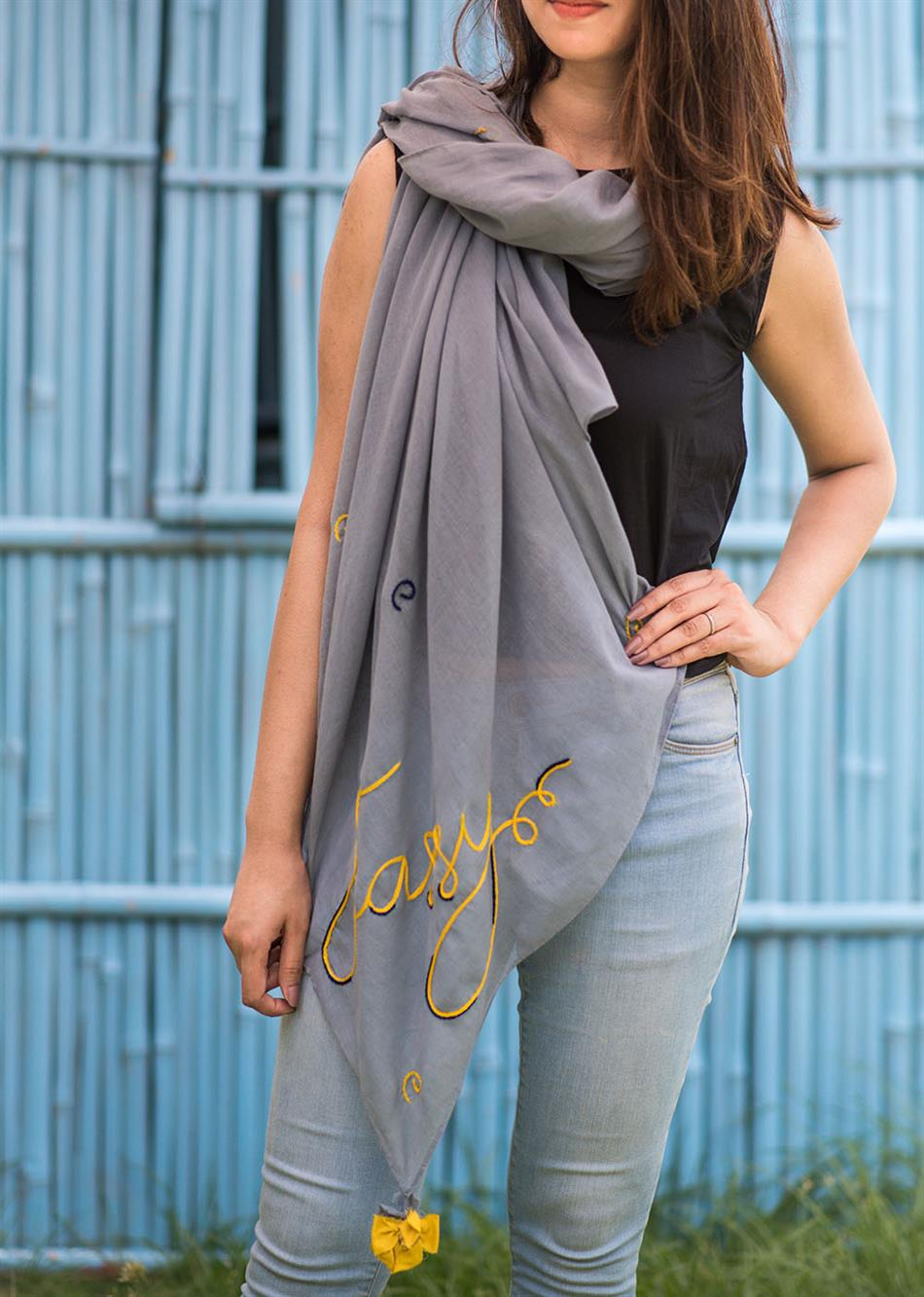 """Sassy"" hand embroidered scarf- Shale Grey"