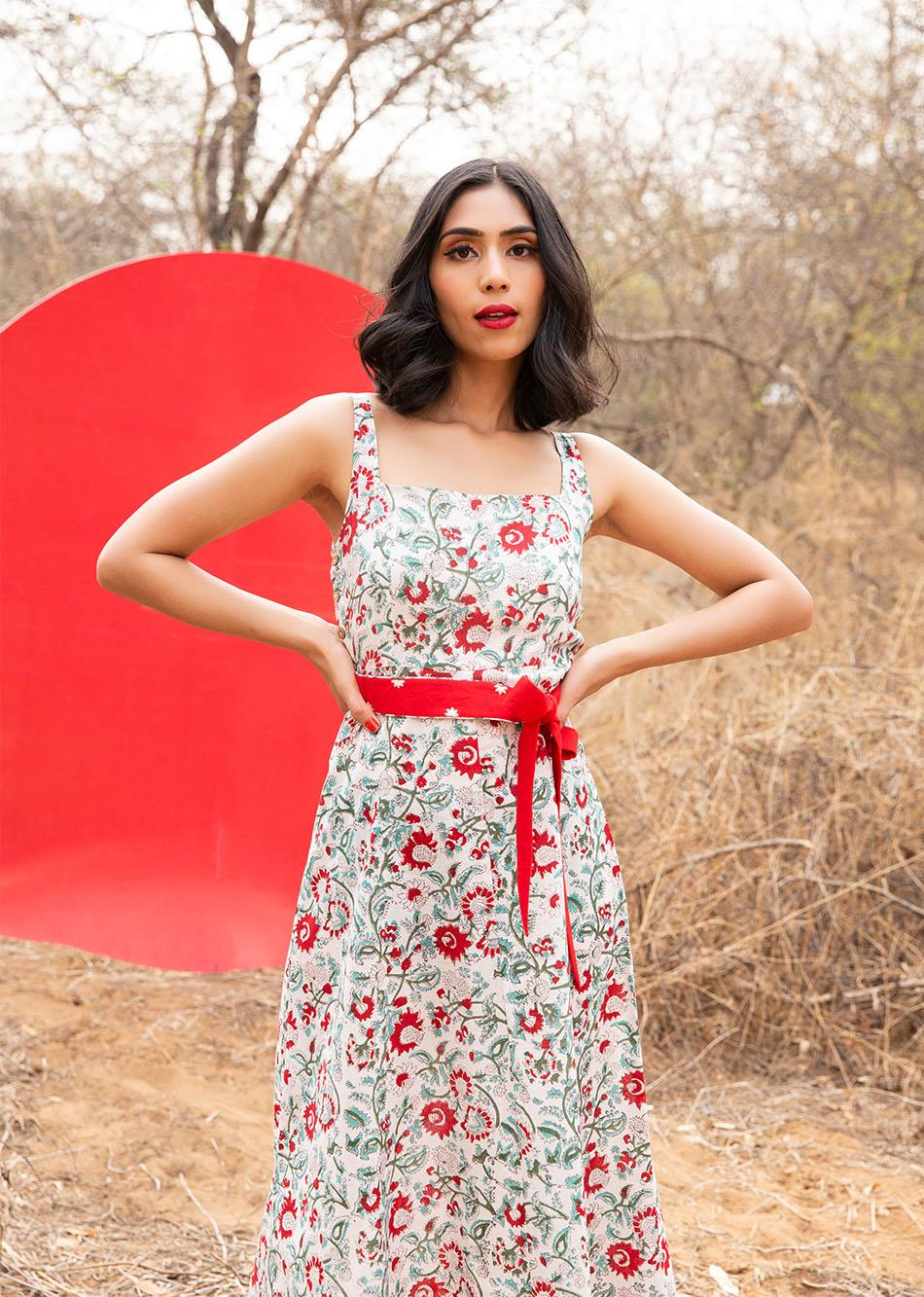 THE ARUSHA DRESS  (with Embroidered Belt)