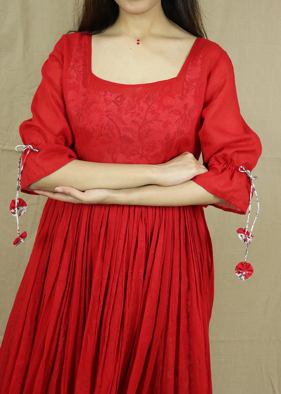 Red Gathered Dress ( With Printed Inner)