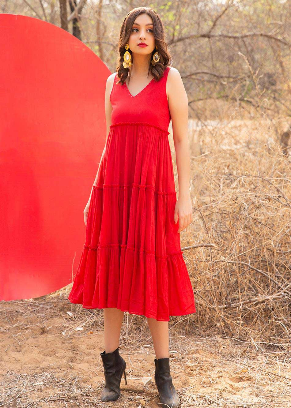 RED MOON TIERED DRESS