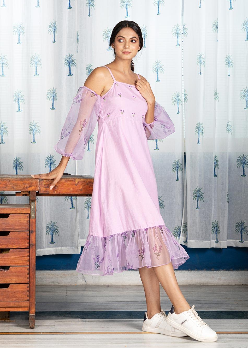 LUXE LILAC DRESS (WITH DETACHABLE SLEEVES)