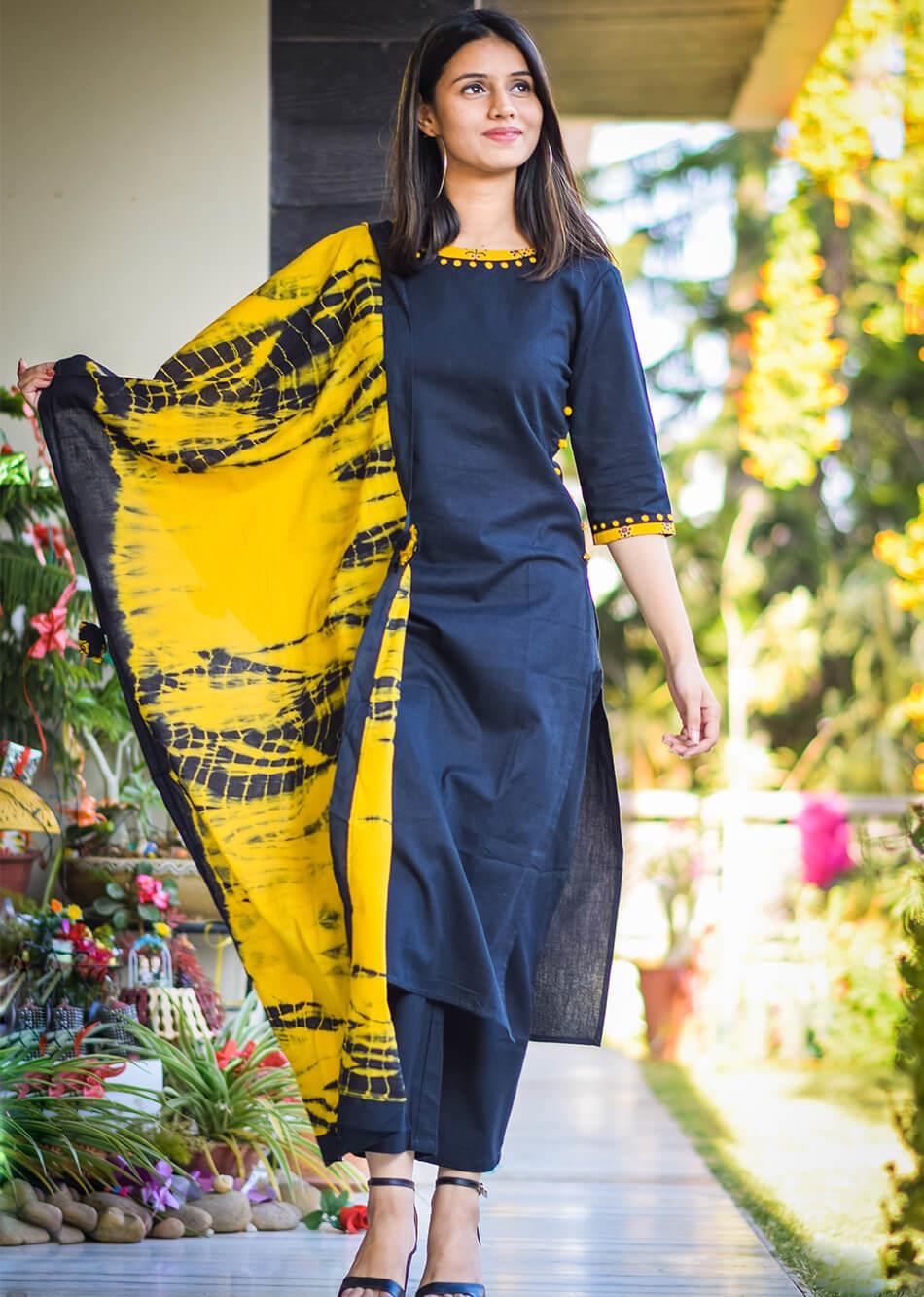 Embroidered candor-black and yellow By Jovi Fashion