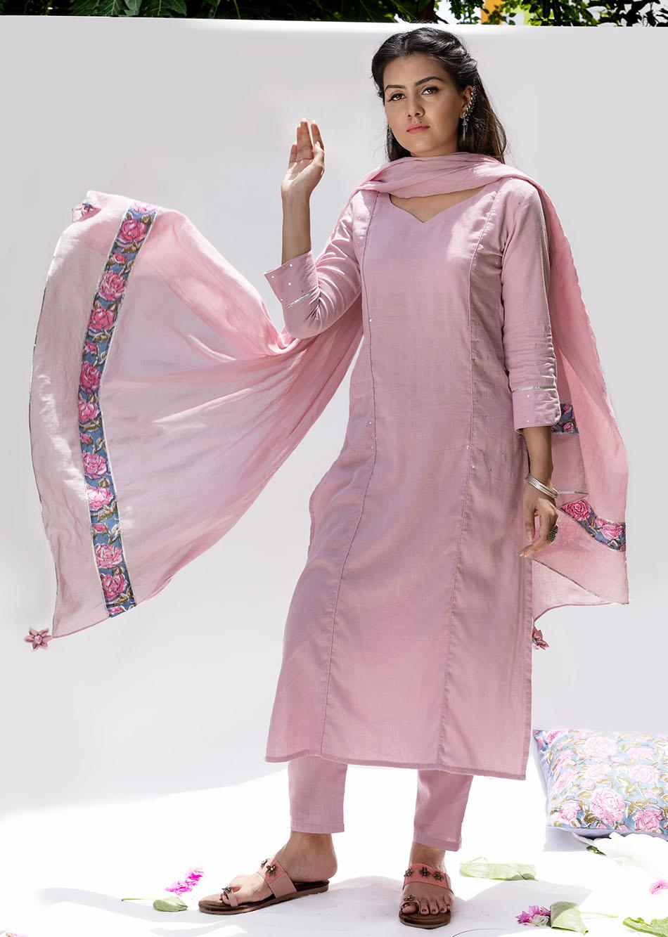 Gulabi straight sequence kurta and pant set (Set of 3)