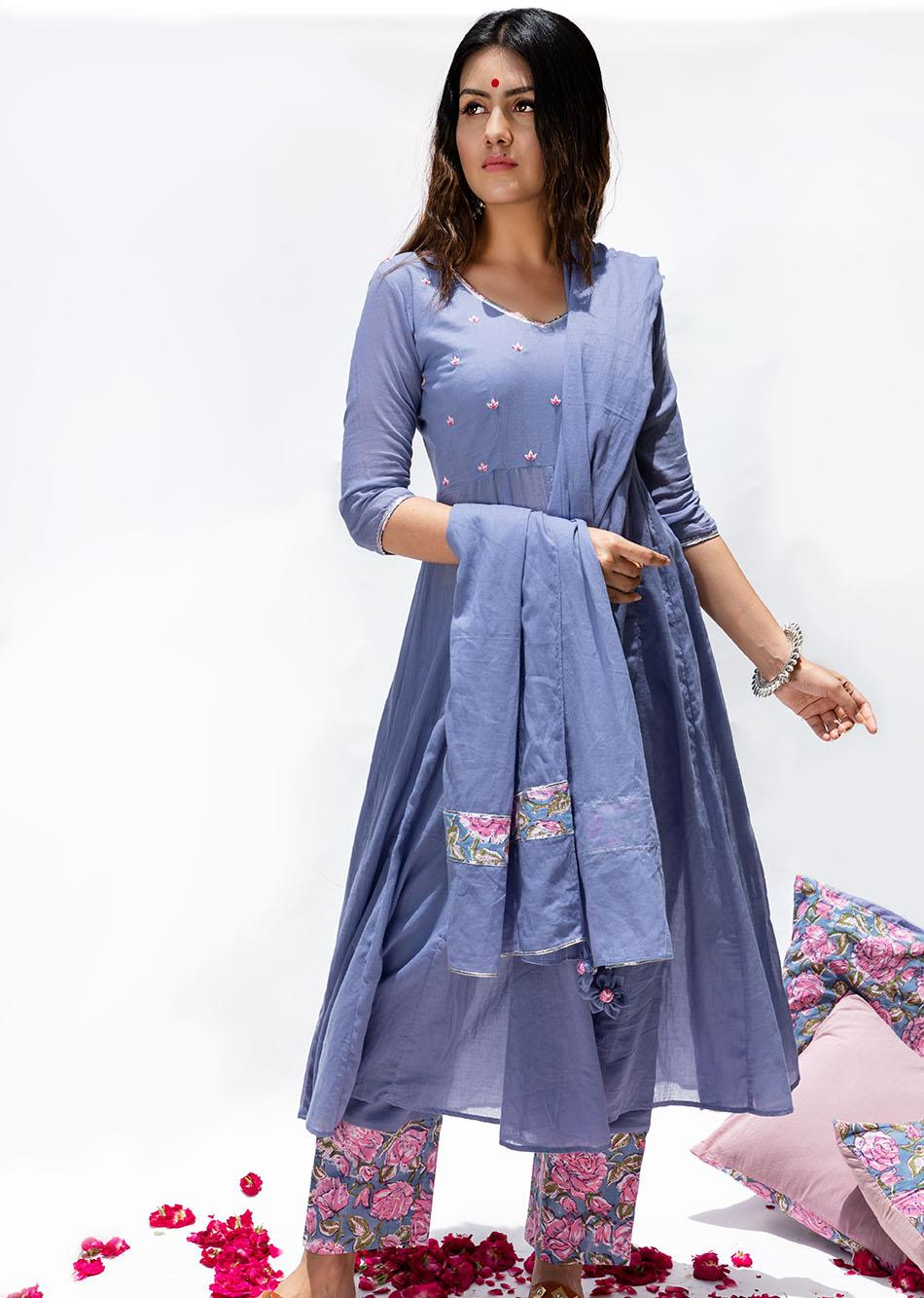 Baiguni V-neck Anarkali (set of 3)