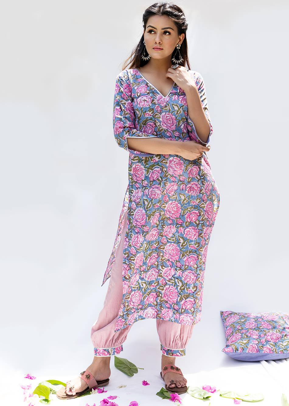 Gulabi- Loose kurta with gathered pant (set of 2)