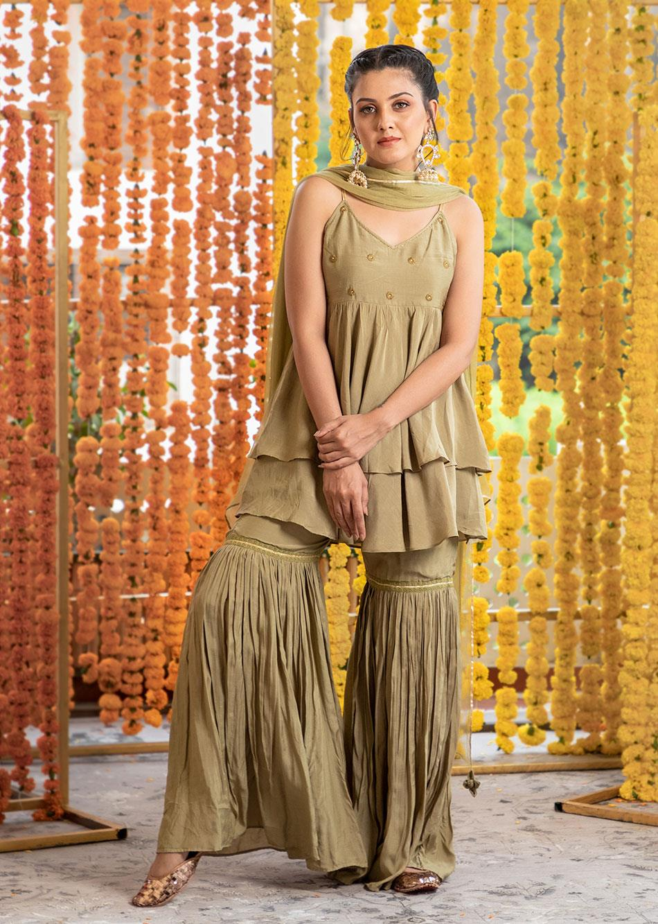 Silk Frill Top and Garara Pants Set (Set of 3)