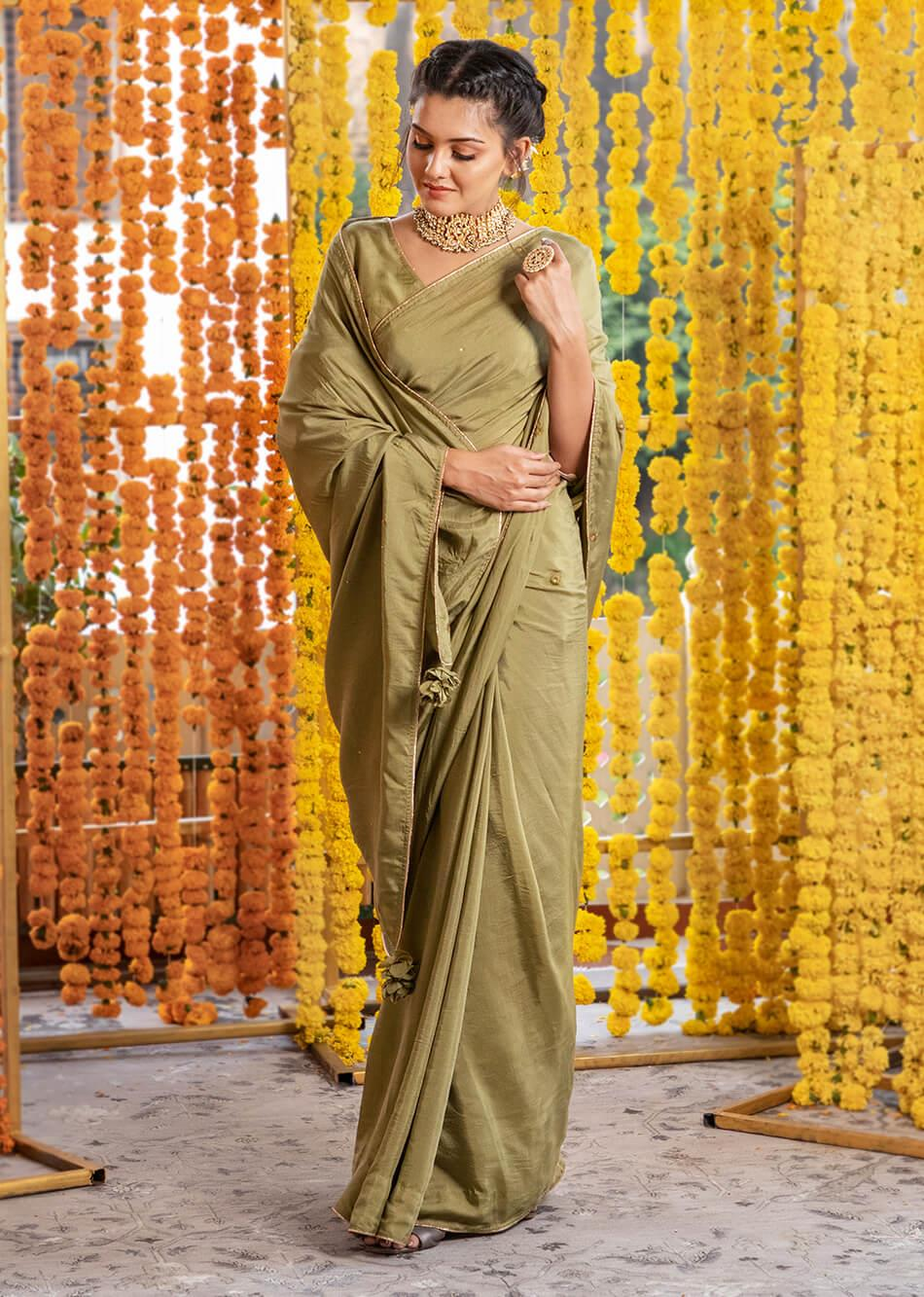 Silk Moss Green Saree