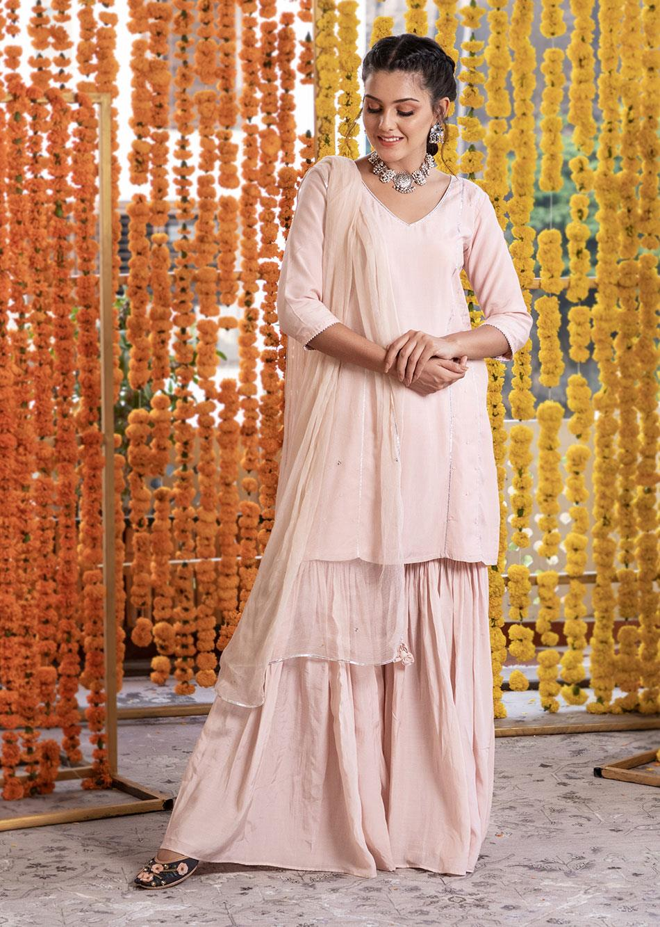 Silk Short Kurta And Garara Pants (Set Of 3)