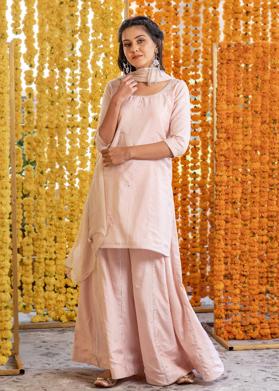 Silk Short Kurta And Palazzo Set (Set Of 3)