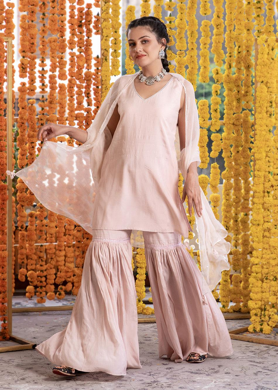 Silk Sleeveless Kurta And Garara Pants (Set Of 3)