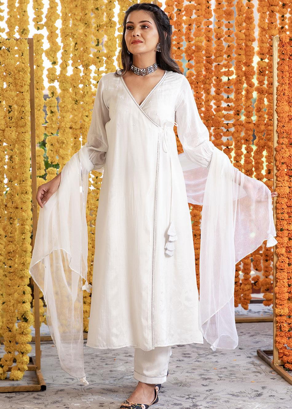 Silk Angrakha Kurta and Straight Pants(set of 3)