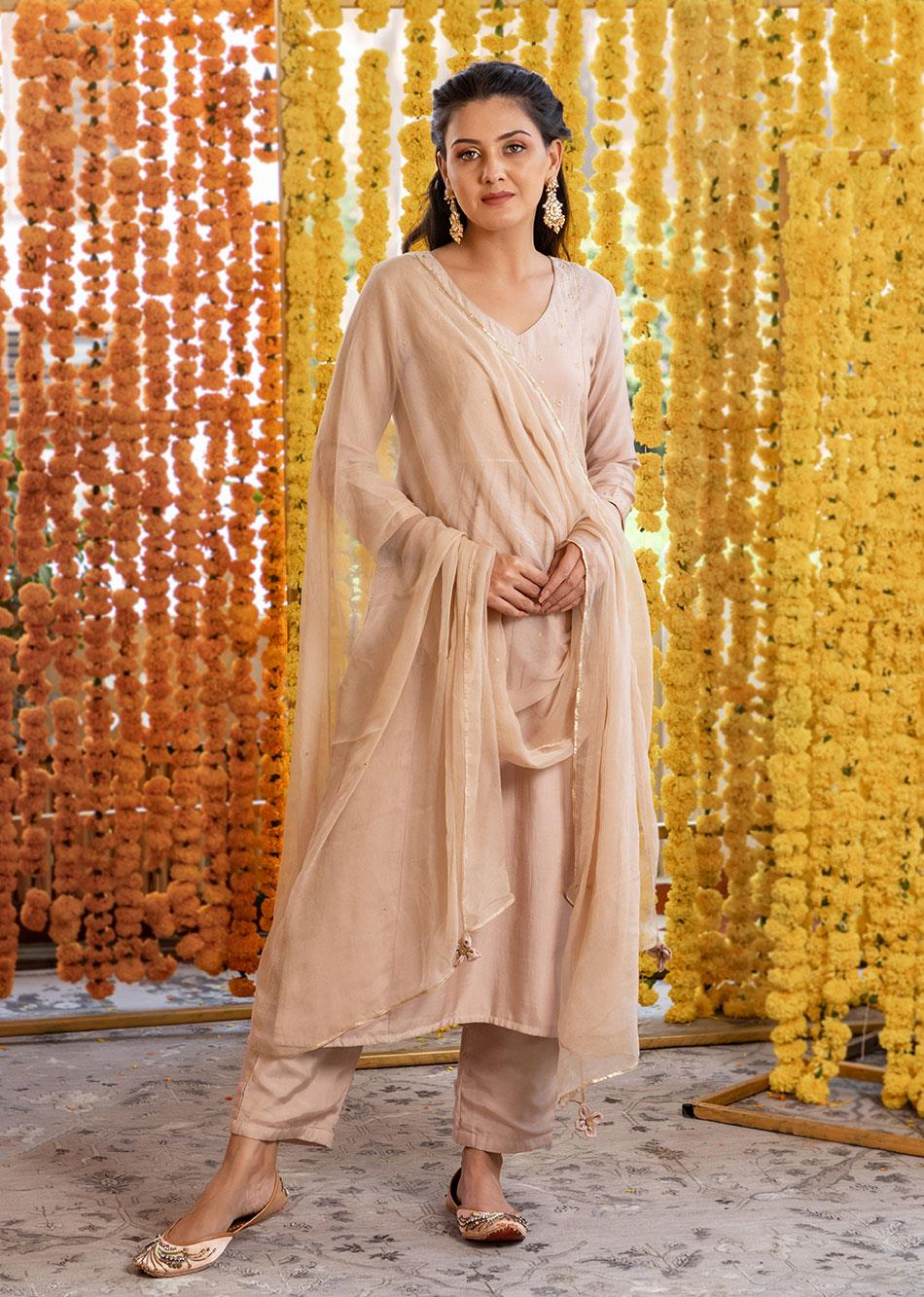 Silk straight kurta and pants(set of 3)
