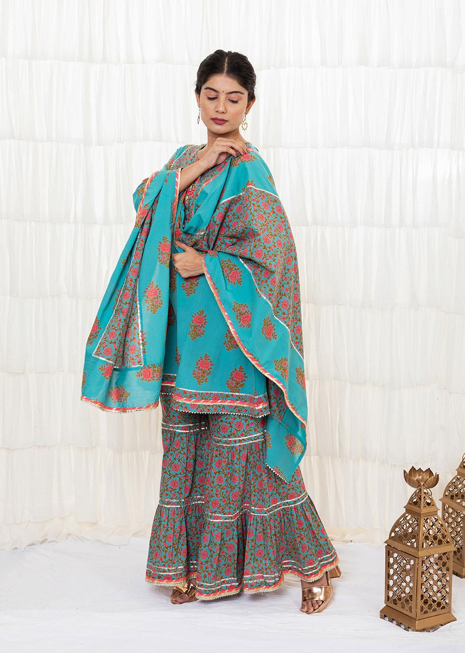 Light sea green sharara set