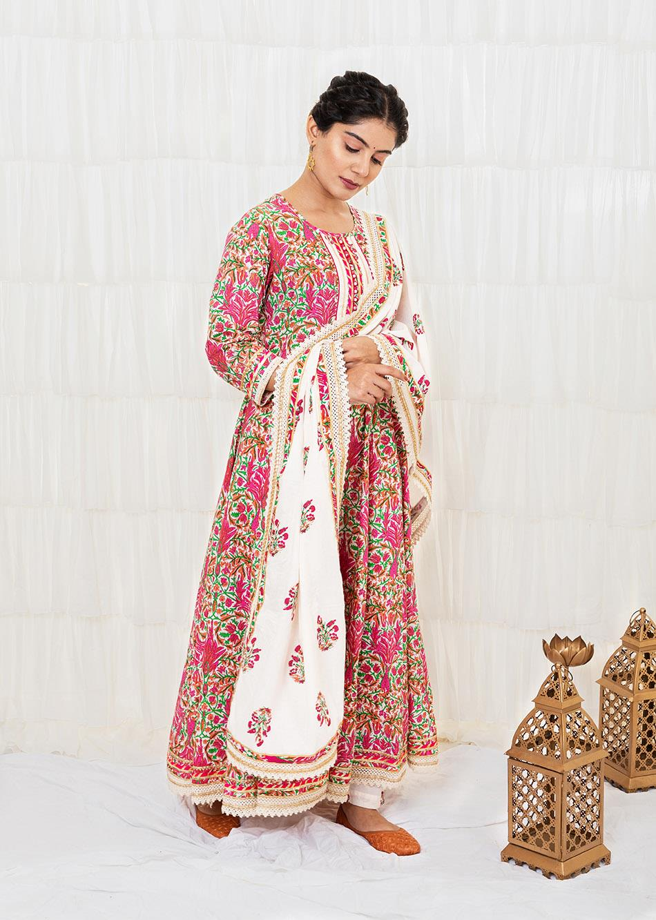 Off-White printed Anarkali Set