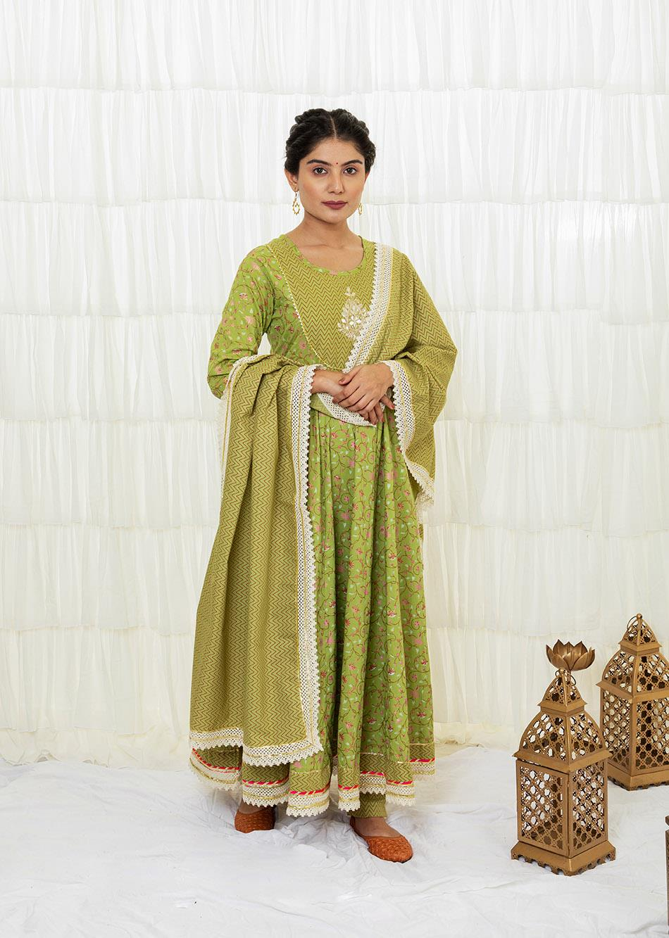 PARROT GREEN PRINTED ANARKALI SET