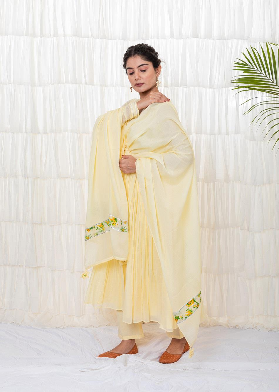 Banana Yellow Anarkali Set