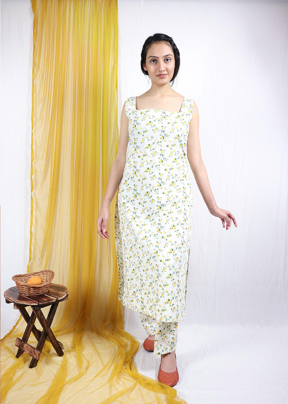 Basantah Sleeveless Kurti and Pants Set (Set of 2)