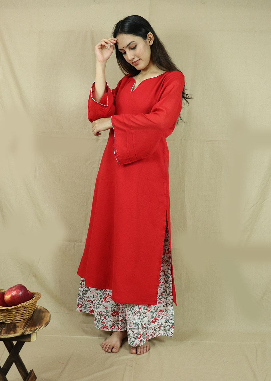 Red Loose Kurta with Palazzo (Set of 3)