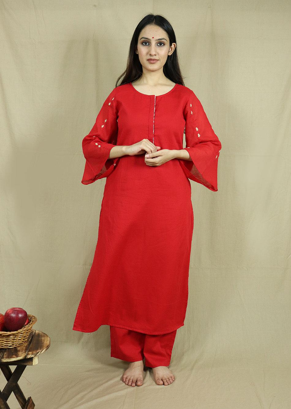 Red Straight Kurta Set  (Set of 3)