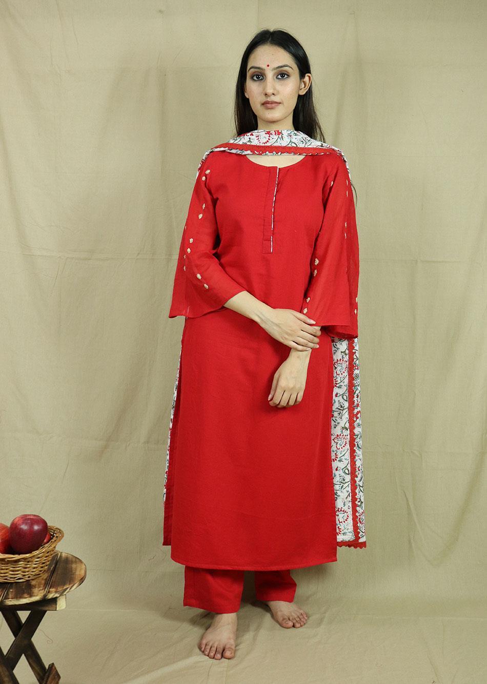 Red Straight Kurta Set (With printed dupatta)