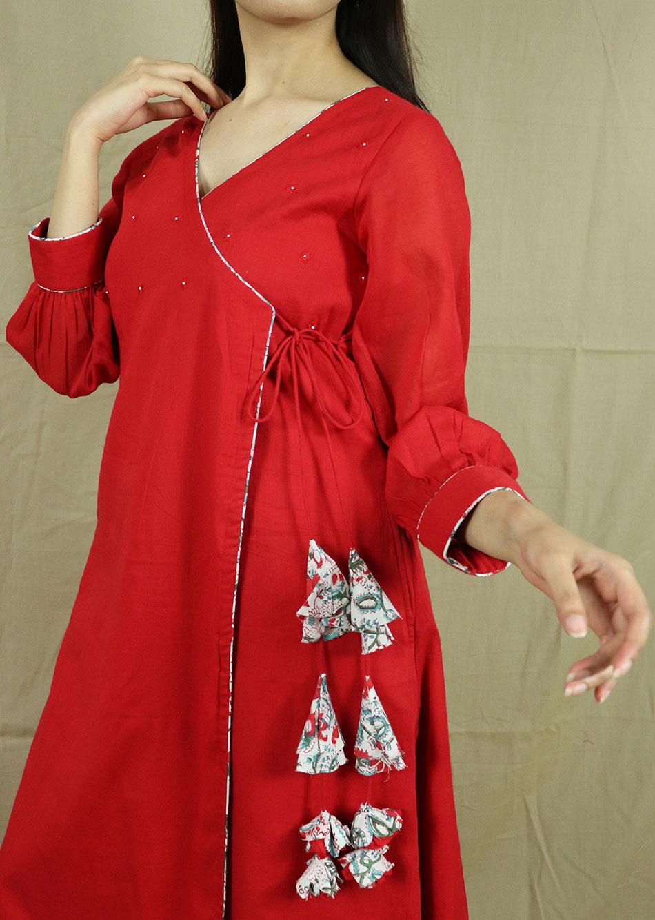 Red Angrakha Kurta With Pants (Set of 2)