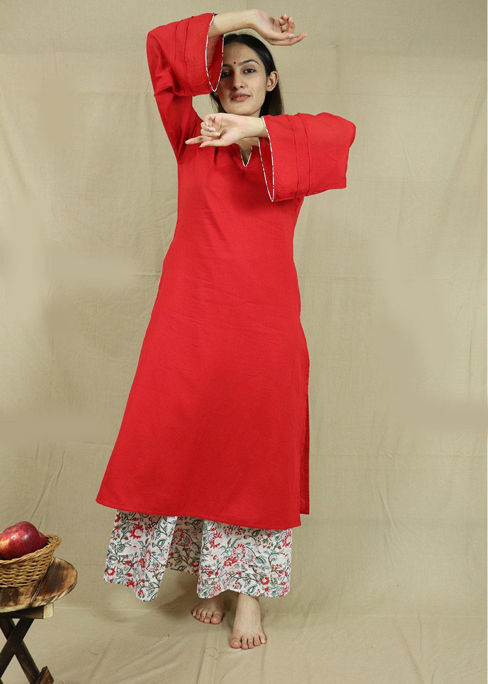 Red Loose kurta and Palazzo (Set of 2)