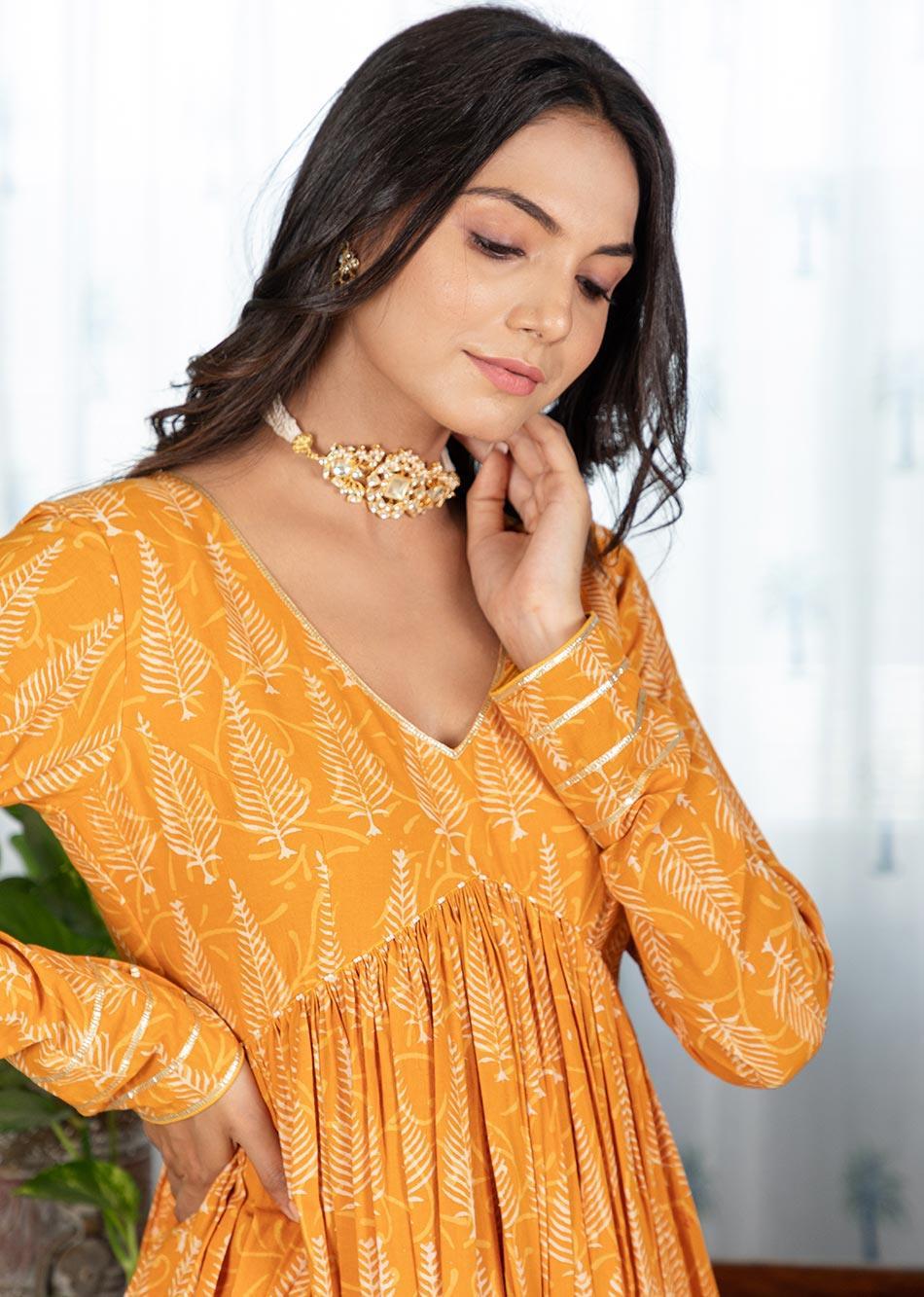 MOH Honey Gathered Anarkali Set (set of 3)