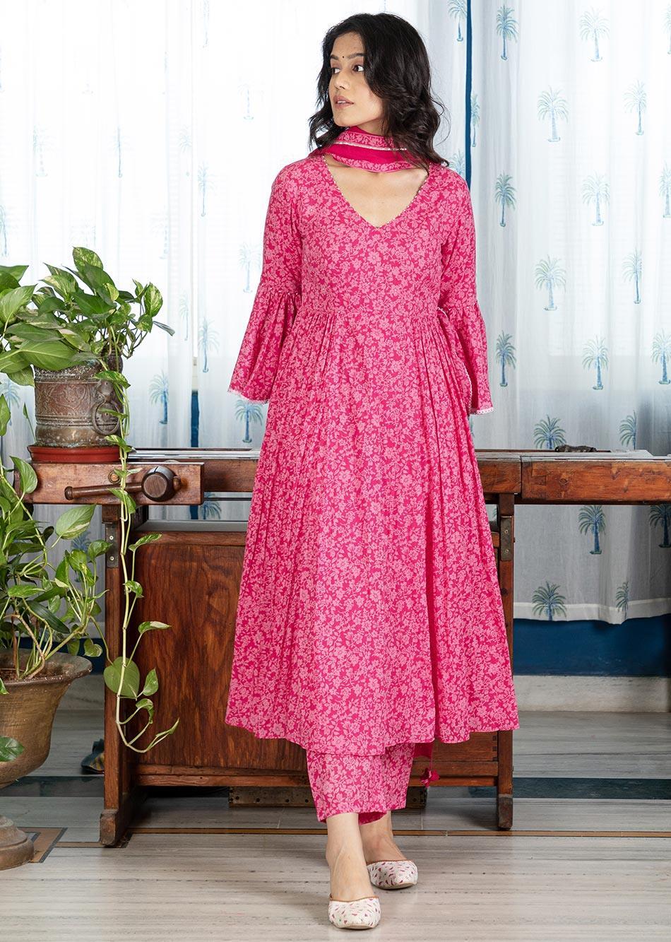 MOH Pink Anarkali Set (set of 3)