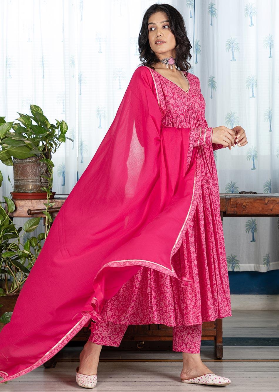 MOH  Pink Gathered Anarkali Set (set of 3)