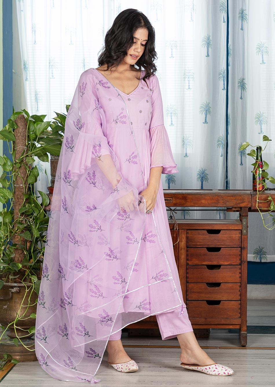 MOH Lilac Anarkali (set of 3)