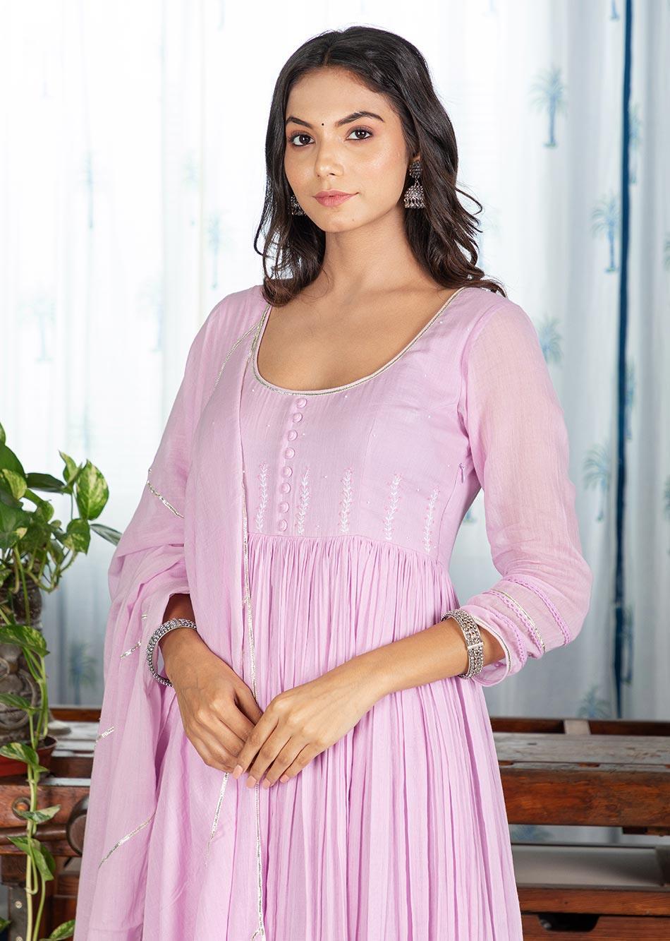 MOH Lilac Gathered Anarkali Set (set of 3)