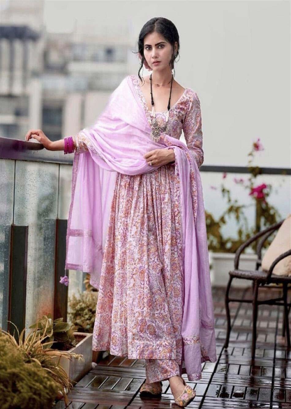 MOH Lilac Printed Anarkali Set (set of 3)