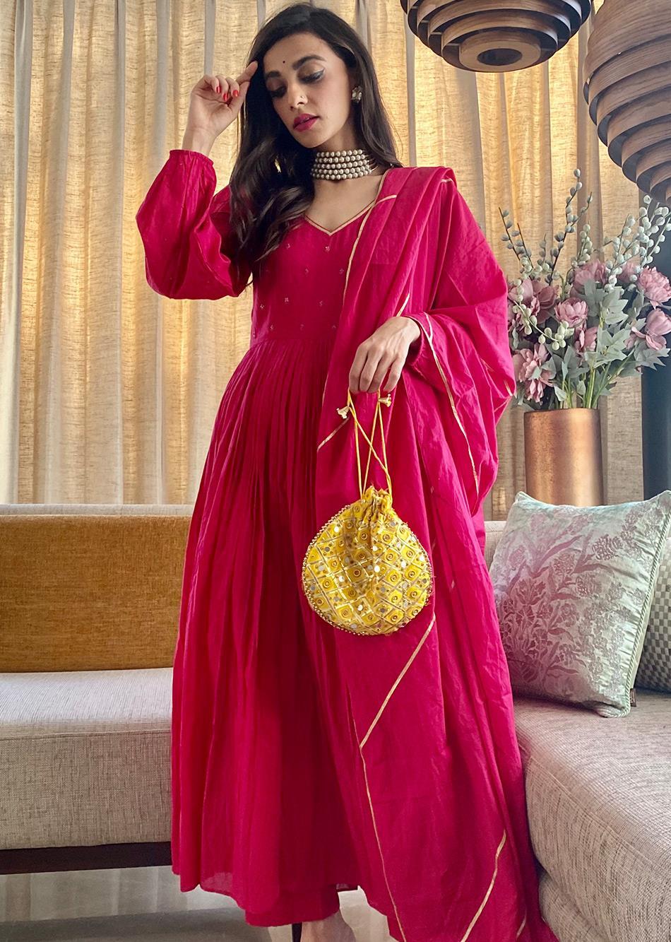 ROOH AFZA Puffy Sleeves Anarkali(SET OF 3)