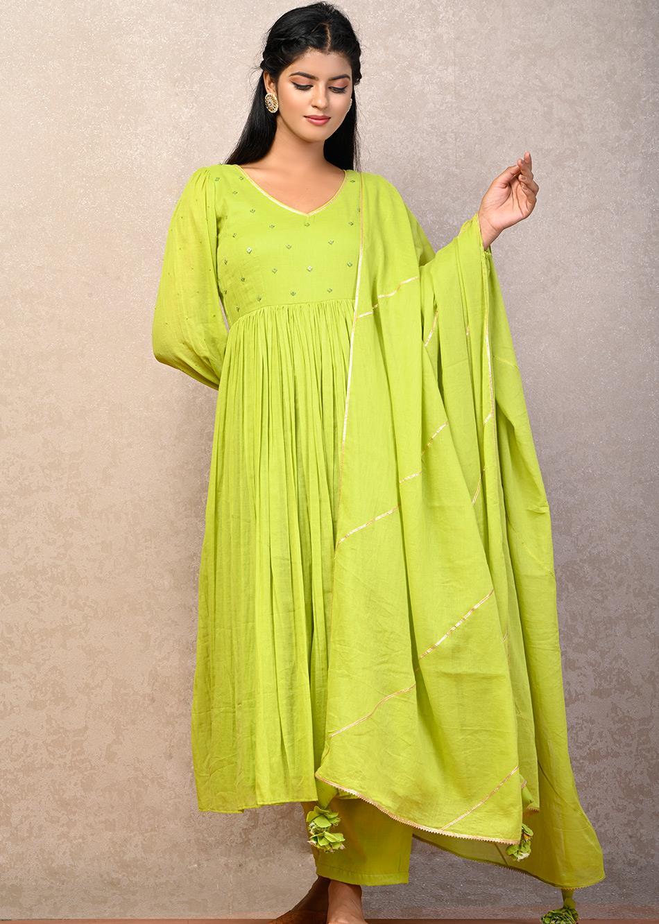 PAN BAHAAR Puffy Sleeves Anarkali(SET OF 3)