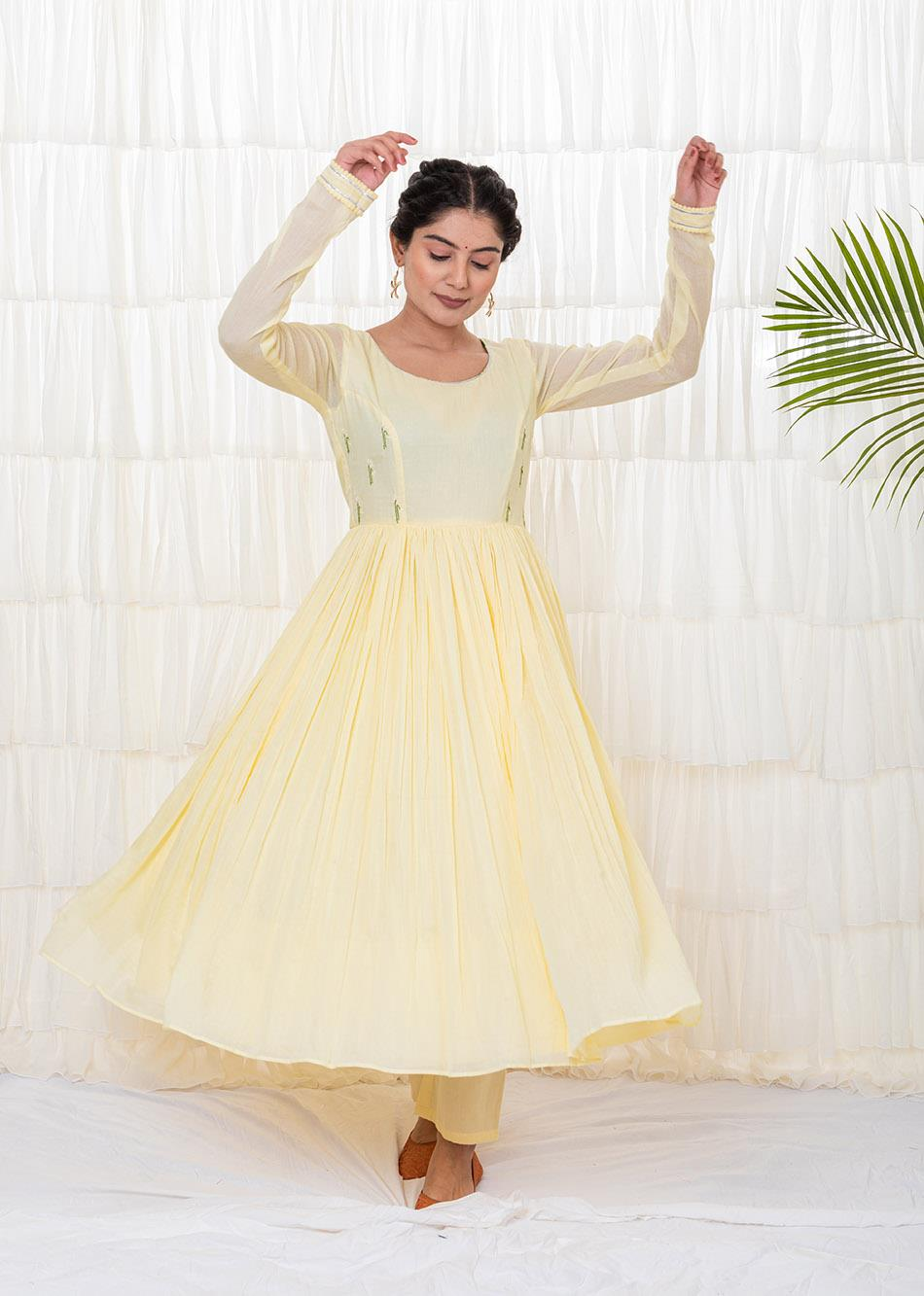BANANA YELLOW ANARKALI KURTA