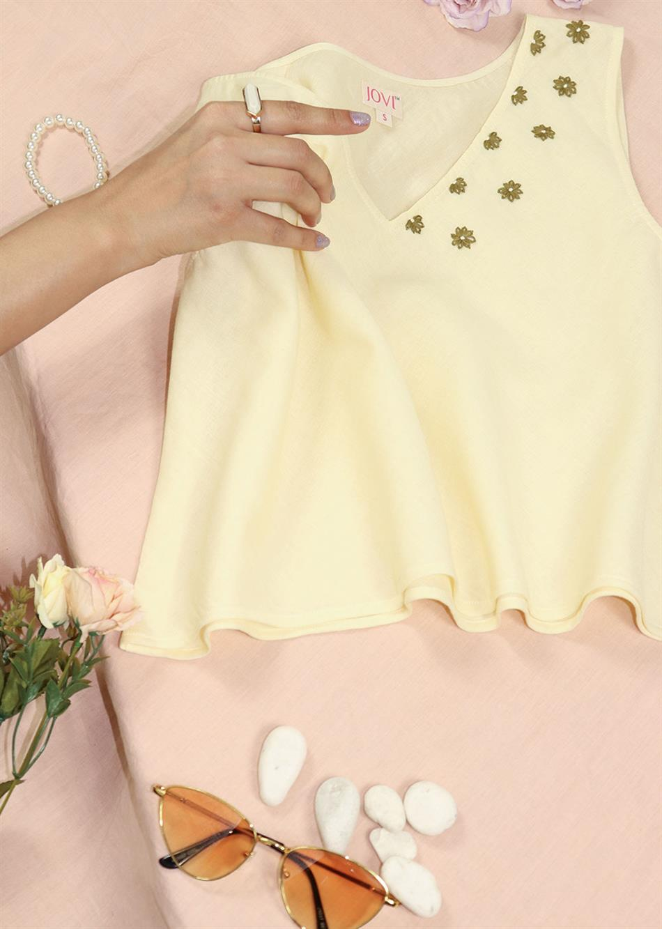 SUMMER V NECK EMBROIDERD TOPS (COLORS AVAILABLE)