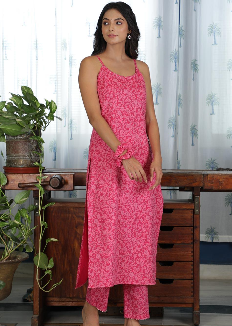 MOH Pink Strappy Kurta (only kurta)