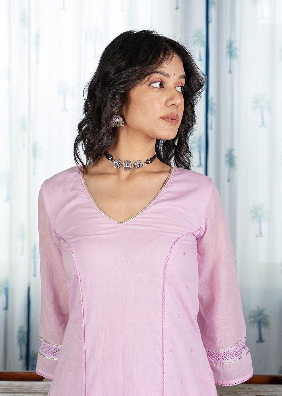 MOH Lilac Lacey Kurta (only kurta)