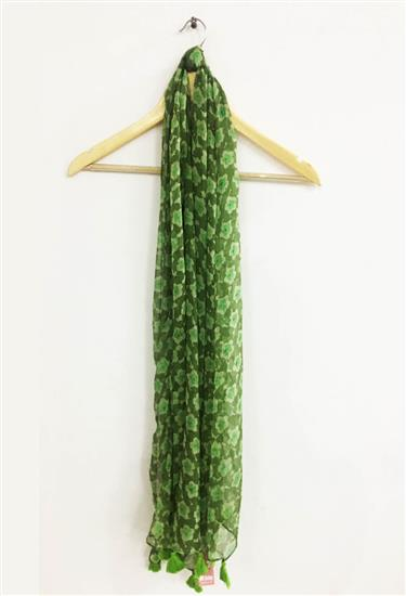 scarf - floral green